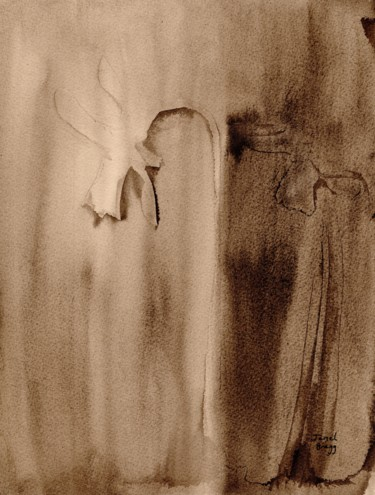 """Painting titled """"Daffodils in Sepia"""" by Janel Bragg, Original Art, Ink"""
