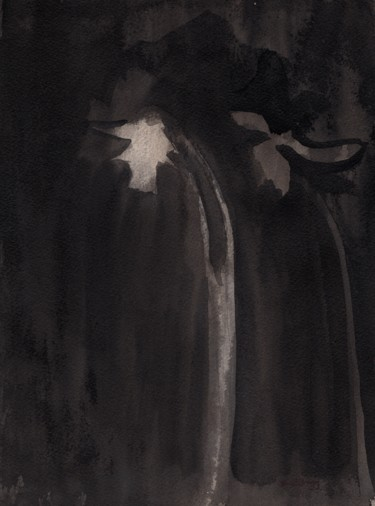 """Painting titled """"Daffodils in Sepia…"""" by Janel Bragg, Original Art, Ink"""