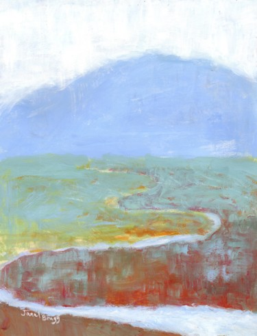 Mountainscape Painting, watercolor, expressionism, artwork by Janel Bragg