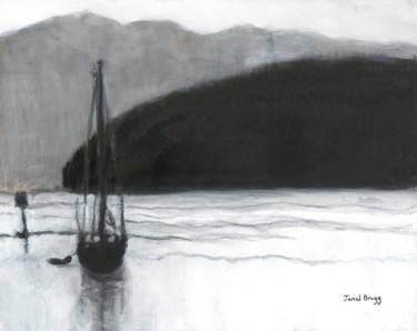 Boat Painting, charcoal, expressionism, artwork by Janel Bragg