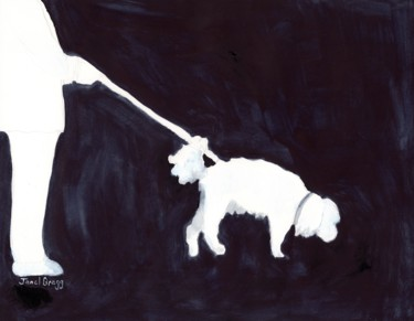 Dog Painting, watercolor, expressionism, artwork by Janel Bragg