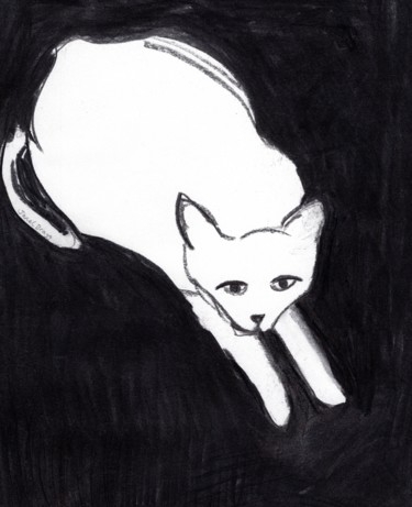 Cat Drawing, charcoal, expressionism, artwork by Janel Bragg