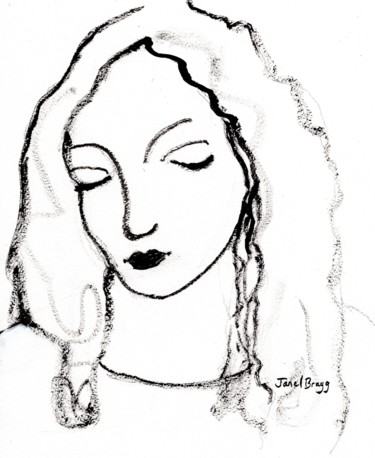 Women Painting, ink, expressionism, artwork by Janel Bragg