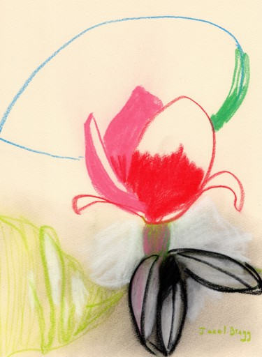 Flower Painting, conté, expressionism, artwork by Janel Bragg