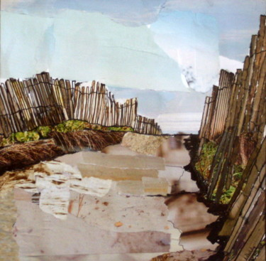 """Collages titled """"Serignan Plage Coll…"""" by Janet Daldy, Original Art, Collages"""