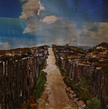 """Collages titled """"Serignan Plage"""" by Janet Daldy, Original Art, Collages"""