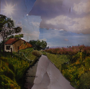 """Collages titled """"Les Champs, Serignan"""" by Janet Daldy, Original Art, Collages Mounted on Cardboard"""