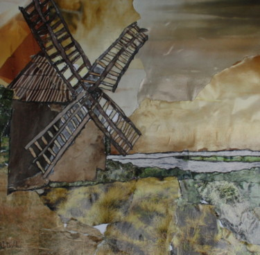 """Collages titled """"Moulin de Lespignan"""" by Janet Daldy, Original Art, Collages Mounted on Cardboard"""
