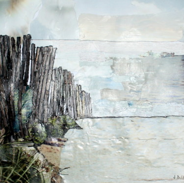 """Collages titled """"Serignan Plage #1"""" by Janet Daldy, Original Art, Collages Mounted on Cardboard"""