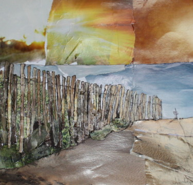 """Collages titled """"Serignan Plage #3"""" by Janet Daldy, Original Art, Collages Mounted on Cardboard"""