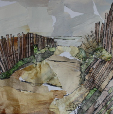 """Collages titled """"Serignan Plage #5"""" by Janet Daldy, Original Art, Collages Mounted on Cardboard"""