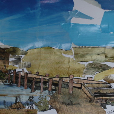 """Collages titled """"Serignan Plage Les…"""" by Janet Daldy, Original Art, Collages Mounted on Cardboard"""