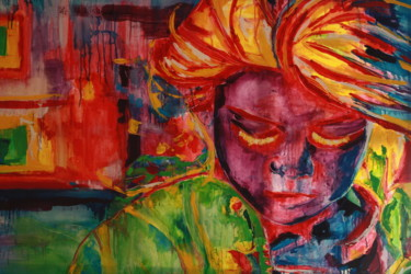 """Painting titled """"Yellow Lashes"""" by Janet Daldy, Original Art, Oil"""
