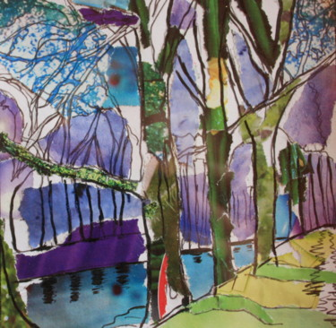 """Collages titled """"Canal du midi bleu"""" by Janet Daldy, Original Art, Collages Mounted on Other rigid panel"""