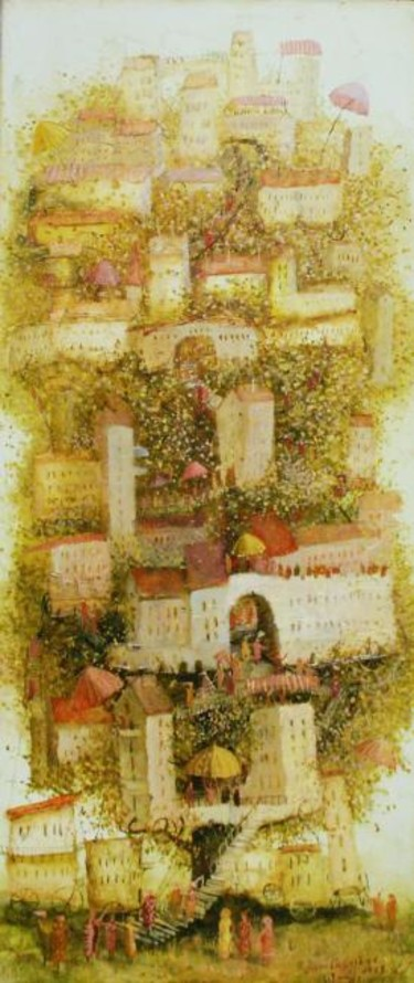 """Painting titled """"Growing City"""" by Remigijus Januskevicius, Original Art, Oil"""