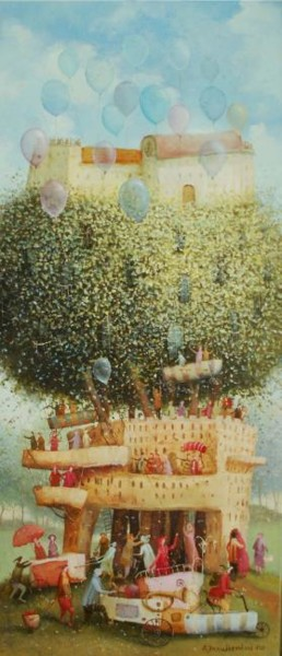 """Painting titled """"Growing house"""" by Remigijus Januskevicius, Original Art, Oil"""