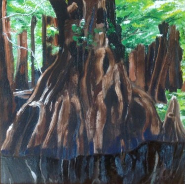 """Painting titled """"Cypresses"""" by Jan Wall, Original Art, Oil"""
