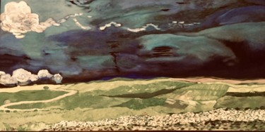 """Painting titled """"Wheatfields Under T…"""" by Jan Wall, Original Art, Oil Mounted on Stretcher frame"""