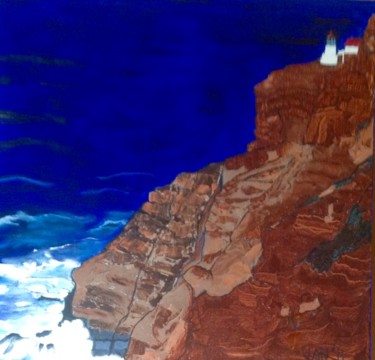 """Painting titled """"The Lighthouse at P…"""" by Jan Wall, Original Art, Oil Mounted on Stretcher frame"""