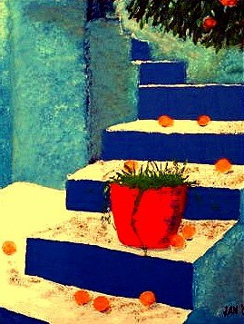 """Painting titled """"Blue Stairs"""" by Jan Wall, Original Art, Oil"""