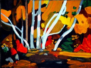 """Painting titled """"Aspens (After Tom T…"""" by Jan Wall, Original Art, Oil"""