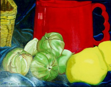 """Painting titled """"Red Mug with Tomati…"""" by Jan Wall, Original Art, Oil"""