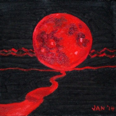 """Painting titled """"Blood Moon"""" by Jan Wall, Original Art, Oil"""