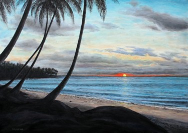 """Painting titled """"sunset-in-rolas-isl…"""" by José A Cavaco, Original Art, Oil"""