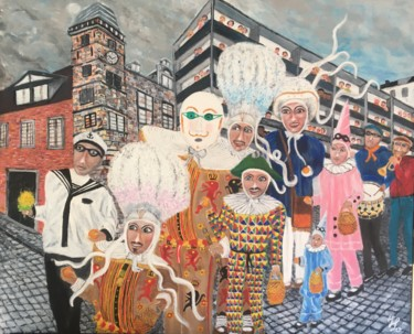"""Painting titled """"Carnaval"""" by Jean Luc Onré, Original Art, Acrylic Mounted on Stretcher frame"""