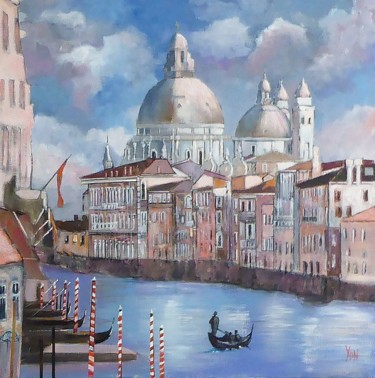 """Painting titled """"le grand canal"""" by Jean-Michel Yon, Original Art, Oil Mounted on Stretcher frame"""