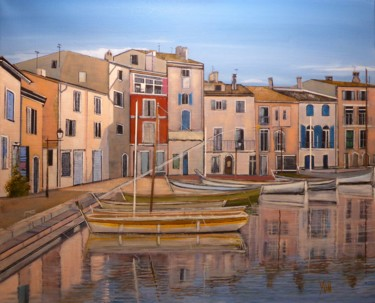 """Painting titled """"martigues"""" by Jean-Michel Yon, Original Art, Oil Mounted on Stretcher frame"""