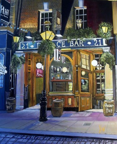 """Painting titled """"le pub"""" by Jean-Michel Yon, Original Art, Oil Mounted on Stretcher frame"""