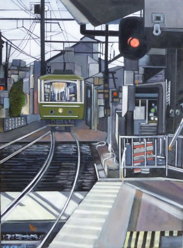 """Painting titled """"la gare"""" by Jean-Michel Yon, Original Art, Oil Mounted on Stretcher frame"""