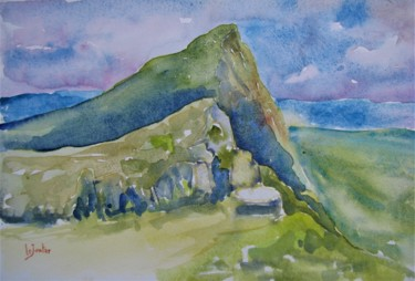 Mountainscape Painting, watercolor, impressionism, artwork by Jean-Noël Le Junter
