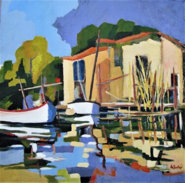 Boat Painting, oil, impressionism, artwork by Jean-Noël Le Junter