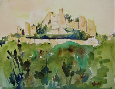 Monument Painting, watercolor, impressionism, artwork by Jean-Noël Le Junter