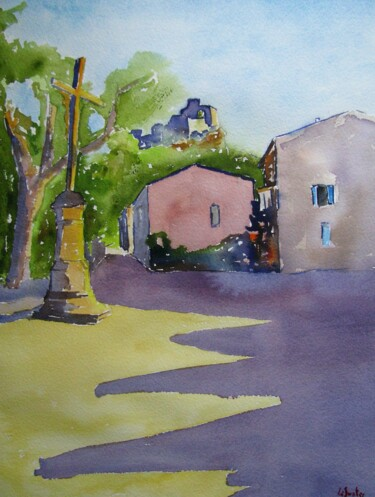 """Painting titled """"Brissac le haut"""" by Jean-Noël Le Junter, Original Art, Watercolor Mounted on Wood Panel"""