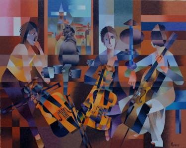 Violin Painting, oil, cubism, artwork by Jean Rougerie