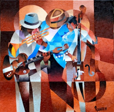 Painting, oil, cubism, artwork by Jean Rougerie
