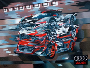 Car Painting, oil, cubism, artwork by Jean Rougerie
