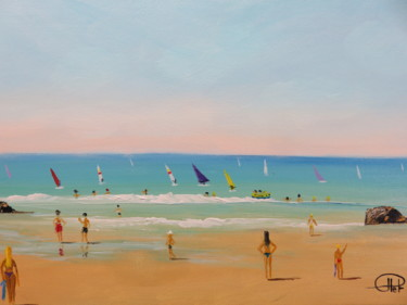 Beach Painting, acrylic, impressionism, artwork by Jean-Claude Plet