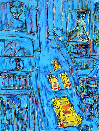 City Painting, oil, expressionism, artwork by Jean Mirre