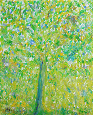 """Painting titled """"FIELD TREE"""" by Jean Mirre, Original Art, Oil Mounted on Stretcher frame"""