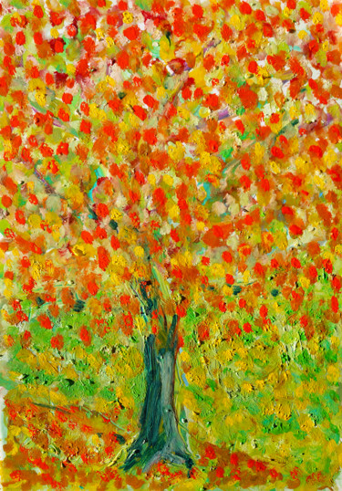 """Painting titled """"Burning leaves"""" by Jean Mirre, Original Art, Oil"""