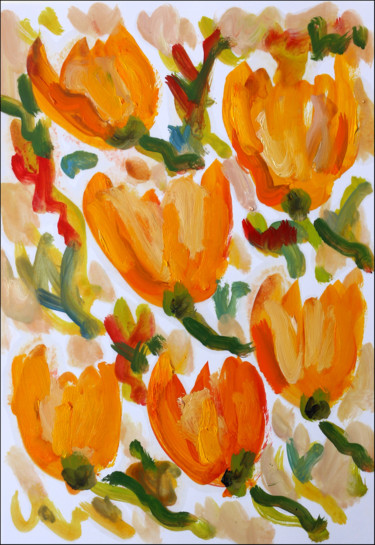 """Painting titled """"Daffodils"""" by Jean Mirre, Original Art, Oil"""
