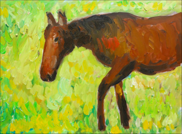 Horse Painting, oil, expressionism, artwork by Jean Mirre