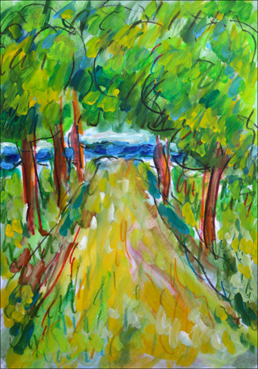 """Painting titled """"Sand path"""" by Jean Mirre, Original Art, Oil"""