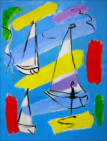"""Painting titled """"SAILING"""" by Jean Mirre, Original Art, Oil"""