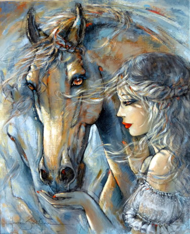 Horse Painting, acrylic, expressionism, artwork by Jeanne Saint Chéron