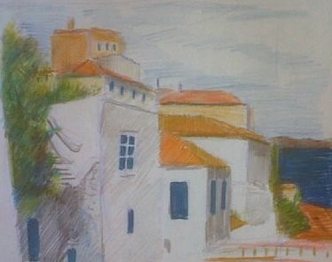 """Painting titled """"View of city houses…"""" by Jeff Sterling, Original Art, Oil"""